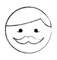 sketch draw round moustache man face cartoon vector image vector image