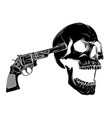 skull aiming with two revolvers vector image vector image