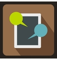 Tablet chatting icon flat style vector image vector image