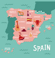 tourist map of spain travel with vector image
