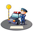 A cop beside a police car with a yellow outpost vector image vector image
