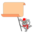 A funny Christmas hare with a big blank paper vector image