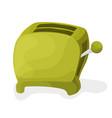 a green cartoon toaster on a white vector image vector image