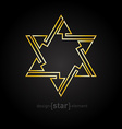 Abstract golden star with arrows on black vector image vector image