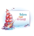 banner with sail ship in ocean vector image vector image