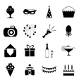 Birthday Party Celebrate Isolated Silhouette Icons vector image vector image