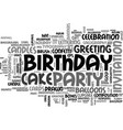 birthday word cloud concept vector image vector image