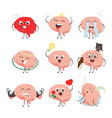 brain characters making sport exercises and vector image vector image