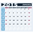 Calendar 2015 January design template vector image vector image