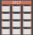 Calendar 2017 week starts on Sunday orange tone vector image vector image