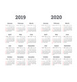 calendar 2019 2020 year vector image