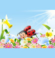 cartoon funny ladybug flying over flower field vector image