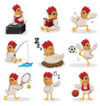 chicken characters doing different activities vector image