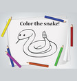 children snake coloring worksheet vector image vector image