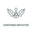 christmas mistletoe line icon christmas vector image