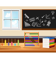 Classroom with books and instruments vector image vector image