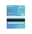 credit card blue front and back isolated on white vector image