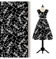 dress fabric pattern with dancing skeletons vector image vector image