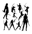 female warrior silhouettes vector image vector image