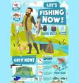 fishing sport adventure fisher catch equipment vector image vector image