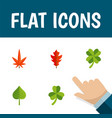 flat icon leaves set of aspen leaf leafage and vector image