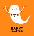 happy halloween flying ghost spirit holding vector image