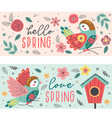 isolated spring banners with beautiful birds vector image vector image