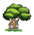 Kids standing outside the house under the big tree vector image vector image