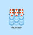 lifebuoy in water looks like 404 error creative vector image vector image