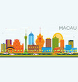 macau china city skyline with color buildings and vector image vector image