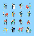 married couple people life collection on blue vector image vector image