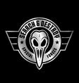 Military bird skull emblem vector image