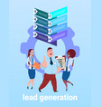 mix race business team processing sales funnel vector image vector image