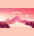 mountain landscape fir forest river sunset vector image