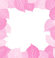 Pink leaves frame vector image