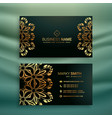 premium business card with golden floral design vector image vector image