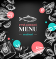 Restaurant chalkboard menu Hand drawn sketch sea vector image vector image