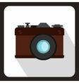 Retro photo camera icon flat style vector image vector image