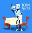 robot waiter holding tray with drinks vector image