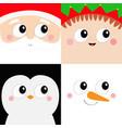 santa claus elf snowman penguin bird square face vector image vector image
