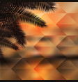 sea sunset with palmtree geometric background vector image vector image