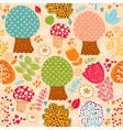 seamless cute trees pattern vector image vector image