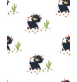 seamless pattern cute bull vector image