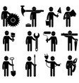set construction professions icons collection vector image vector image