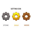 set gear settings icons gold wooden and stone vector image vector image
