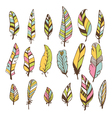 Set of hand drawn feathers doodles design elements vector image vector image