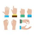set of hands of businessman vector image