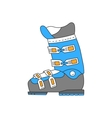 Ski boots line hand drawn icon vector image vector image