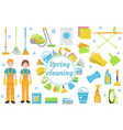 spring cleaning icons flat style housekeeping vector image vector image