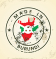 Stamp with map flag of Burundi vector image vector image